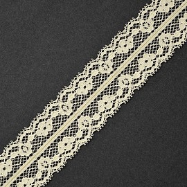 "1-1/2"" IVORY Raschel Non-Stretch Lace Trim by YD, ROI-M3015"